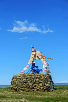 Ovoo, sacred stone heap and place of worship, Mongolia