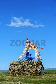 Ovoo, heiliger Steinhügel und Gebetsplatz, Mongolei