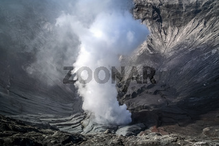 Smoking Bromo crater