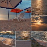 Empty chair stand on beach under opened umbrella sunset time collage of toned images