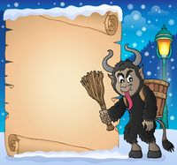 Parchment with Krampus theme 1