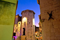 Split Diocletian's palace street evening view