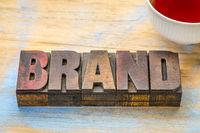 brand word in vintage wood type