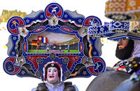 A Beautiful Chlaus with ornate embroidered headgear, Urnäsch Silvesterkläuse, Switzerland