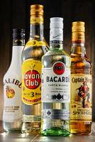 Bottles of famous global rum brands