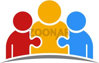 Three People Puzzle Teamwork Logo