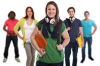 Studenten Gruppe lachen Leute Menschen People Jugendliche Freisteller