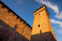 Tower of Bolognini castle at sunset