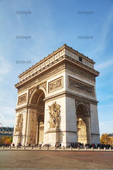 The Arc de Triomphe de l'Etoile in Paris, France