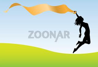 Woman run jump hold banner earth sky
