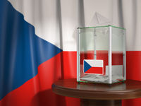 Ballot box with flag of Czech republic and voting papers. Czech presidential or parliamentary election.