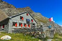 Mountaion hut Schönbielhütte of the Swiss Alpine Club (SAC), Zermatt, Valais, Switzerland