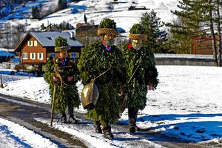 Gruppe Schö-wüeschter Silvesterkläuse geht am Alten Silvester, Urnäsch, Schweiz