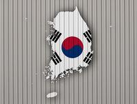 Karte und Fahne von Südkorea - Map and flag of South Korea
