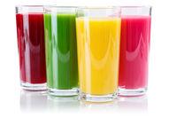 Saft Smoothie Smoothies im Glas Fruchtsaft isoliert freigestellt Freisteller