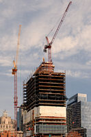 Boston, MA, USA 25 Jul. 2009: Shot of developing building carcas and cranes in waterfront area of Boston