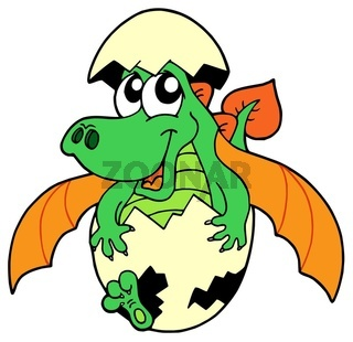 Cute dragon in egg - isolated illustration.