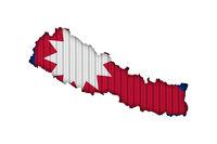 Karte und Fahne von Nepal auf Wellblech  - Map and flag of Nepal on corrugated iron