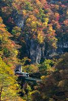 Naruko Gorge valley with rail tunnel in Miyagi Tohoku Japan