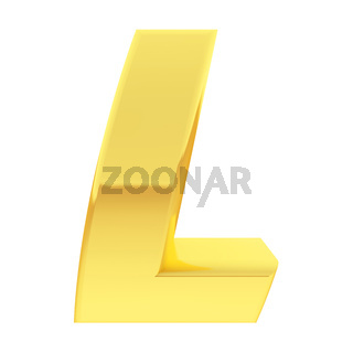 Gold alphabet symbol letter L with gradient reflections isolated on white. High resolution 3D image