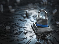 Padlock on CPU computer circuit board. Lock over  the motherboard. Network security concept.