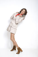 Winter fashion in white quilted coat