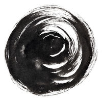 Black ink round brush stroke