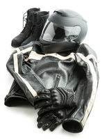 Motorcycle helmet, gloves, jacket and boots.