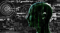 Human tech matrix head at background with electronic circuits
