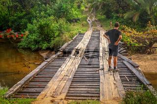 Checking damaged bridge