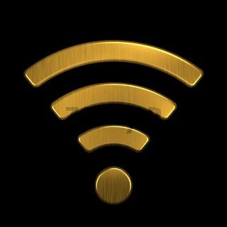 Golden WiFi Logo. 3D Rendering Illustration