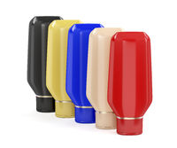 Five plastic bottles for cosmetic products