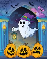 Ghost with hat and lantern theme 7