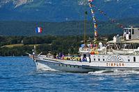 Paddle wheel steamer Simplon on Lake Geneva, Geneva, Switzerland