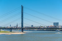 Dusseldorf city cityscape with bridge Rhine with river