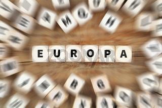 Europa EU Krise Würfel Business Konzept