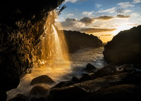 Waterfall near Queens Bath in Princeville Kauai