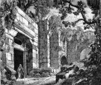 Amasserah standing by a door in the Acropolis in Athens, Greece. Drawing Jules Laurens.