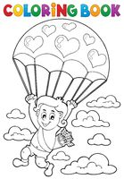 Coloring book Cupid with parachute