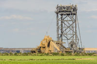 Bucket wheel excavator on the edge of an opencast mine.