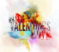 Happy Valentine's Day Greeting Card. Digital illustration. Bright colors
