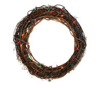 Twig Christmas wreath with lights isoladed on white