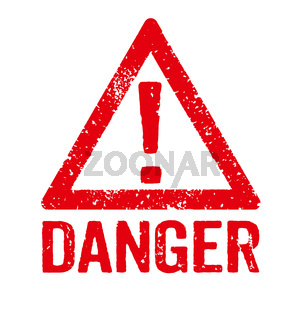 A red stamp on a white background - Danger