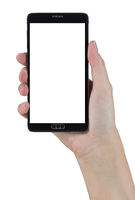 Female Hand Holding Smart Phone with Blank Screen on White