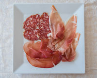 Salami, raw ham and bresaola from above