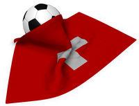 fußball und schweizer flagge - 3d illustration