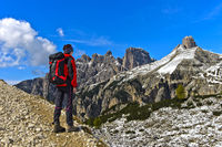 Hiker on the Three Peaks Circular Walk in the Sesto Dolomites, Dolomites, South Tyrol, Italy