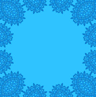 Blue background with abstract ornate frame
