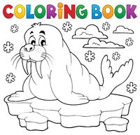 Coloring book walrus theme 1