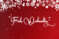 Weihnachtskarte mit Schnee und Frohe Weihnachten